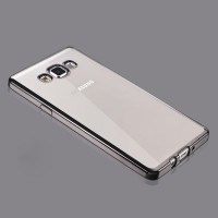 Силиконовый матовый полупрозрачный чехол с металлизированными границами для Samsung Galaxy A5 Черный