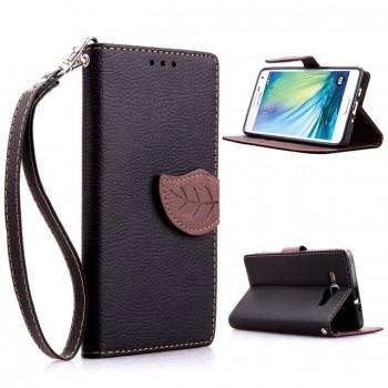 Текстурный чехол портмоне подставка с дизайнерской застежкой для Samsung Galaxy A5