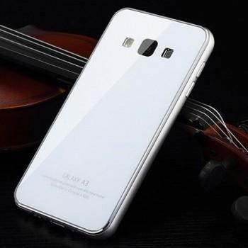 Гибридный двухкомпонентный чехол с металлическим бампером и закаленной стеклянной накладкой для Samsung Galaxy A3