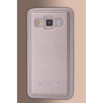 Силиконовый непрозрачный матовый чехол текстура Кожа для Samsung Galaxy A3