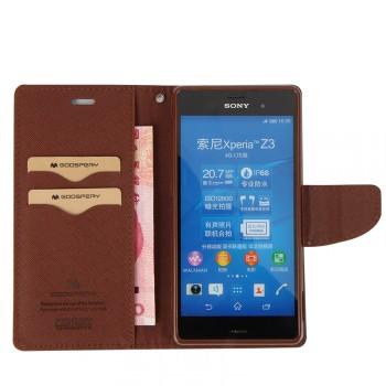 Текстурный чехол портмоне подставка на силиконовой основе с дизайнерской застежкой для Sony Xperia Z3