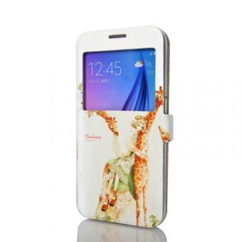 Дизайнерский принтованный чехол флип подставка на силиконовой основе с магнитной застежкой с окном вызова для Samsung Galaxy S6
