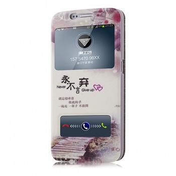 Чехол флип подставка на пластиковой основе с окном вызова и свайпом с принтом для Samsung Galaxy S6