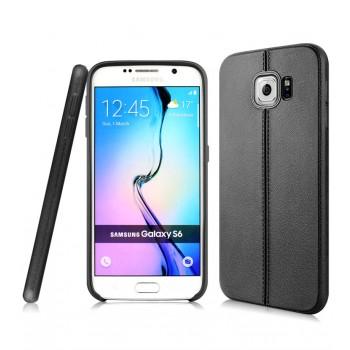 Силиконовый матовый непрозрачный чехол текстура Кожа для Samsung Galaxy S6