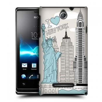 Пластиковый чехол с принтом Столицы для Sony Xperia E dual Нью-Йорк