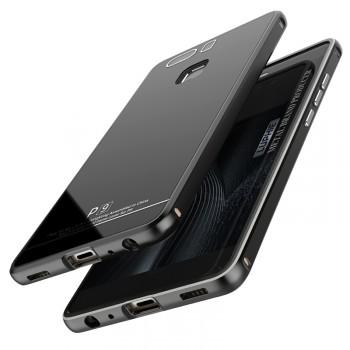 Двухкомпонентный чехол c металлическим бампером с поликарбонатной накладкой и поверхностью из закаленного стекла для Huawei P9