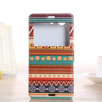 Чехол горизонтальная книжка подставка на пластиковой основе с окном вызова и полноповерхностным принтом на магнитной защелке для Sony Xperia Z3 Compact
