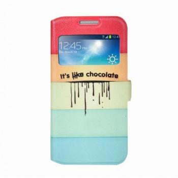 Чехол горизонтальная книжка подставка на пластиковой основе с окном вызова и полноповерхностным принтом на магнитной защелке для Samsung Galaxy S4 Mini