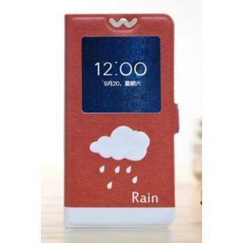 Чехол горизонтальная книжка подставка на пластиковой основе с окном вызова и полноповерхностным принтом на магнитной защелке для Lenovo A536 Ideaphone