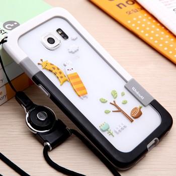 Силиконовый матовый дизайнерский двухцветный бампер для Samsung Galaxy S6 Edge