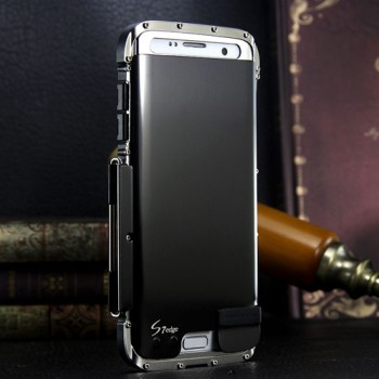 Экстразащитный противоударный чехол алюминий/силикон/поликарбонат с металлической крышкой для Samsung Galaxy S7 Edge