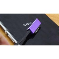 Усиленный магнитный зарядный кабель с индикацией заряда для Sony Xperia Z1/Z Ultra/Z1 Compact/Z2/Z3/Z3 Compact Фиолетовый