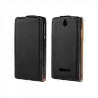 Чехол книжка вертикальная на пластиковой основе с магнитной защелкой для Sony Xperia E dual Черный