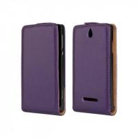 Чехол книжка вертикальная на пластиковой основе с магнитной защелкой для Sony Xperia E dual Фиолетовый