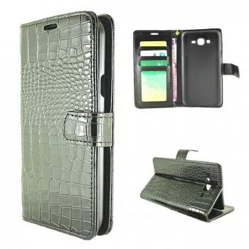 Чехол портмоне подставка текстура Крокодил на пластиковой основе на магнитной защелке для Samsung Galaxy J7