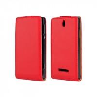 Чехол книжка вертикальная на пластиковой основе с магнитной защелкой для Sony Xperia E dual Красный