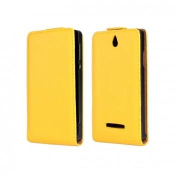 Чехол книжка вертикальная на пластиковой основе с магнитной защелкой для Sony Xperia E dual