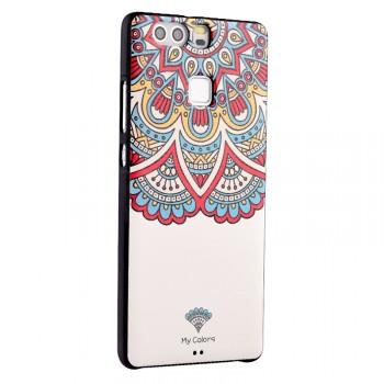 Силиконовый матовый непрозрачный чехол с объемно-рельефным принтом для Huawei P9 Plus