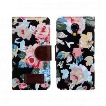 Узорный тканевый чехол портмоне с кожаными вставками для Samsung Galaxy S4 mini
