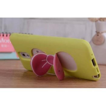 Силиконовый матовый непрозрачный дизайнерский фигурный чехол с встроенной ножкой-подставкой для Samsung Galaxy Note 4
