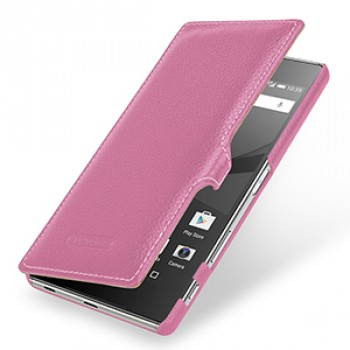 Кожаный чехол горизонтальная книжка (премиум нат. кожа) с крепежной застежкой для Sony Xperia Z5 Premium