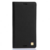 Кожаный чехол флип с пластиковым основанием для Nokia Lumia 530 Черный