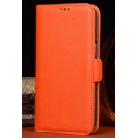 Кожаный чехол портмоне (нат. кожа) для Philips i908 Оранжевый
