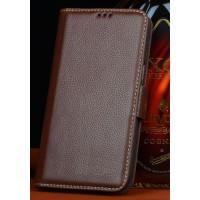 Кожаный чехол портмоне (нат. кожа) для Philips i908 Коричневый