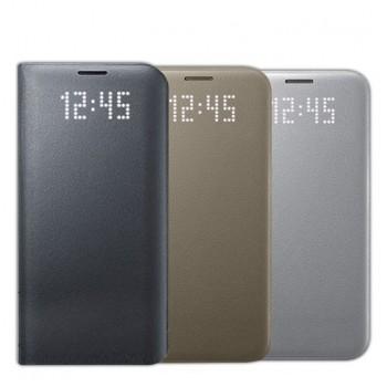 Оригинальный кожаный чехол смарт флип на пластиковой основе с интегрированными информационными LED-значками для Samsung Galaxy S7