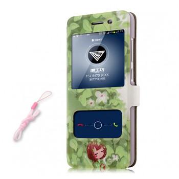 Чехол горизонтальная книжка подставка на пластиковой основе с окном вызова, полноповерхностным принтом и полоcой свайпа на магнитной защелке для Huawei GR3
