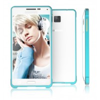 Металлический бампер для Samsung Galaxy Alpha Голубой