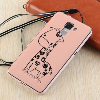 Двухкомпонентный силиконовый матовый непрозрачный чехол с поликарбонатным бампером и принтом для Huawei Honor 7