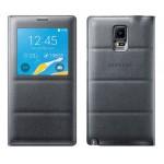 Оригинальный встраиваемый кожаный чехол смарт флип с окном вызова на пластиковой основе для Samsung Galaxy Note 4