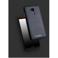 Силиконовый матовый непрозрачный чехол с текстурным покрытием Кожа для Huawei Honor 5C Черный