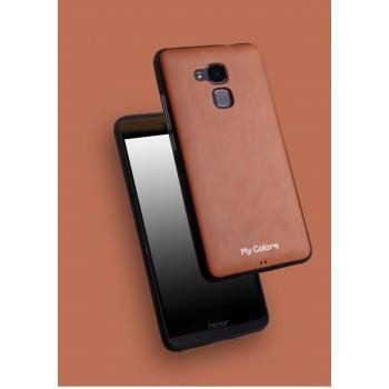 Силиконовый матовый непрозрачный чехол с текстурным покрытием Кожа для Huawei Honor 5C