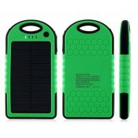 Влагопылезащищенное антискользящее портативное зарядное устройство с солнечной батареей 5000 mAh Зеленый