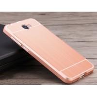 Двухкомпонентный чехол c металлическим бампером с поликарбонатной накладкой и текстурным покрытием Металл для Huawei Honor 5A/Y5 II Розовый