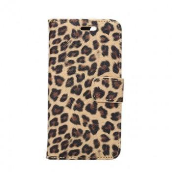 Чехол портмоне подставка текстура Леопард на пластиковой основе на магнитной защелке для Iphone 7