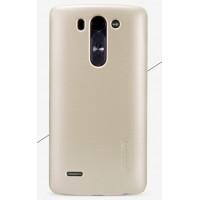 Пластиковый матовый нескользящий премиум чехол для LG G3 S Бежевый