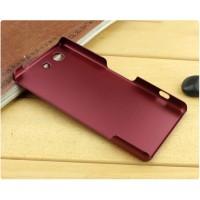 Пластиковый матовый металлик чехол для Sony Xperia Z3 Compact Красный