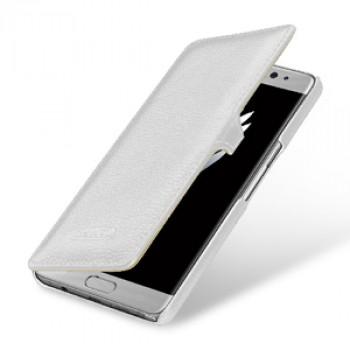 Кожаный чехол горизонтальная книжка (премиум нат. кожа) с крепежной застежкой для Samsung Galaxy Note 7