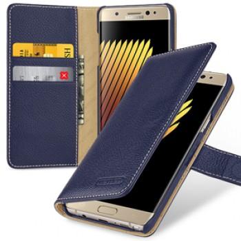 Кожаный чехол портмоне (премиум нат. кожа) с крепежной застежкой для Samsung Galaxy Note 7