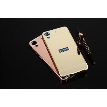 Двухкомпонентный чехол c металлическим бампером с поликарбонатной накладкой и зеркальным покрытием для HTC Desire 626/628