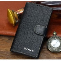 Кожаный чехол портмоне (нат. кожа крокодила) для Sony Xperia Z3