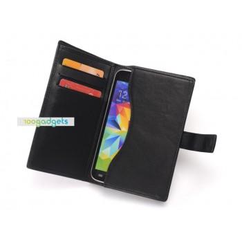 Кожаный чехол футляр-портмоне (нат. кожа) с крепежной застежкой для Samsung Galaxy Alpha