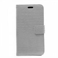 Чехол портмоне подставка с защелкой текстура Крокодил для Samsung Galaxy J3 (2016) Белый