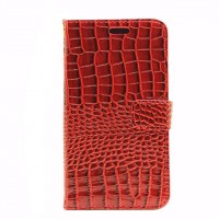 Чехол портмоне подставка с защелкой текстура Крокодил для Samsung Galaxy J3 (2016) Красный