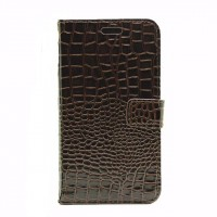 Чехол портмоне подставка с защелкой текстура Крокодил для Samsung Galaxy J3 (2016) Коричневый
