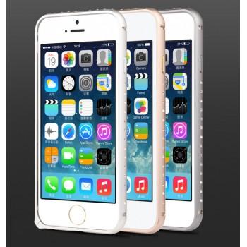 Металлический граненый бампер со стразами для Iphone 6
