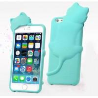 Силиконовый фигурный чехол Кошка для Iphone 6 Голубой
